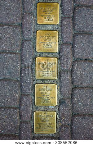 Presov, Slovakia. 09 August 2015. Bronze Plates In Pavement Near The Houses Of People Who Was Deport