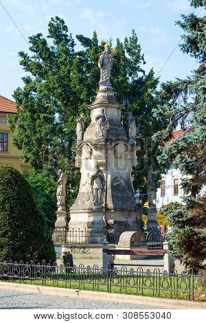 Presov, Slovakia. 09 August 2015. The Marian Plague Column In Presov, Slovakia. Baroque Structure Er