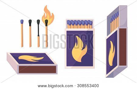 Collection Of Matches. Burning Match With Fire, Opened Matchbox, Burnt Matchstick. Flat Design Style