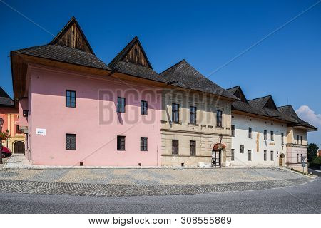 Spisska Sobota, Slovakia. 11 August 2015. Characteristic Architecture On Main Old City Square In Spi