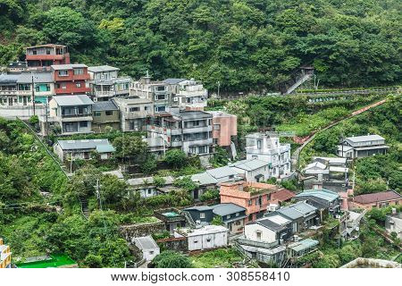 Taiwan,taipei-04 Sep 2017: Taiwan Jiufen Old Village Mountain Day Time View