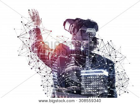 Businessman Exploring Virtual World, Interacting With Digital Interface. Man In Suit Wearing Vr Gogg