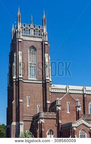 Historic Church And Bell Tower Exterior Of Neo-gothic Architecture In New Orleans Louisiana