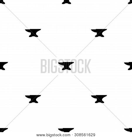 Seamless pattern with black anvil. Blacksmith, repair. Vector illustration for design, web, wrapping paper, fabric. poster