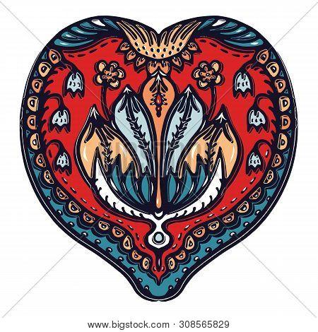 Floral Leaf Paisley Eastern European Style. Hand Drawn Lino Cut Block Print. Ornate Arabesque Flower