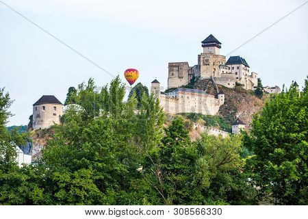 Trencin Castle. Slovakia. 02 August 2015. Trenciansky Hrad - Trencin Castle - On The Hill In Center