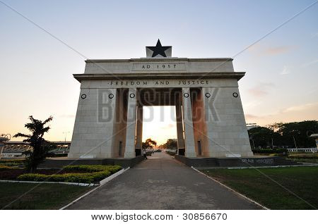 The Independence Square of Accra, Ghana, inscribed with the words Freedom and Justice. poster