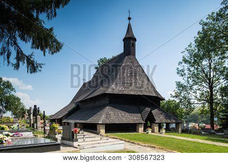 Tvdrosin, Slovakia. 12 August 2015. Old Wooden Church, All Saint Church. Unesco Heritage