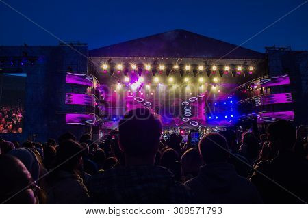 Ufa, Russia - June 15, 2019:big Concert Crowd On Outdoor Summer Festival.