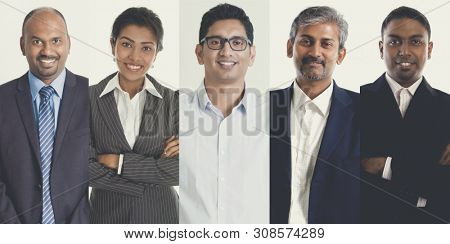 Collage portraits of Indian people, mixed age group of focused business professionals.