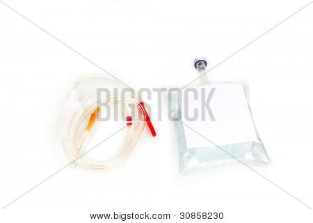 Bag of intravenous antibiotics and plastic infusion set isolated on white