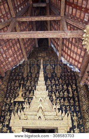 Interior Of One Of Temples In  Wat Xieng Thong Complex In Luang Prabang, Laos