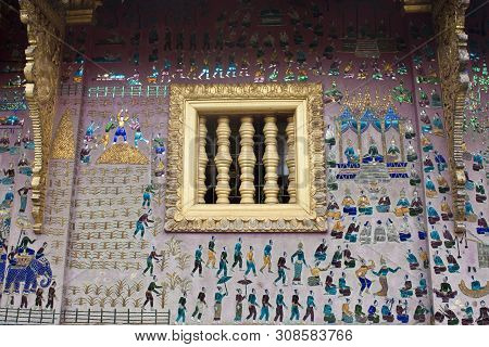 Red Chapel At Wat Xieng Thong Temple Complex In Luang Prabang, Laos