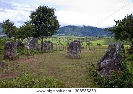 Plain Of Jars Near Phonsavan In Laos.