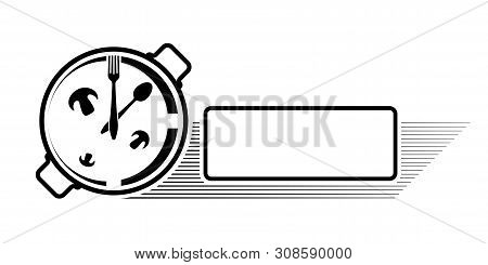 Logo Of A Cafe Or Restaurant. Emblem For Menu Or Advertising. Clock In The Form Of A Pan With A Spoo