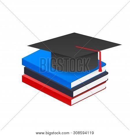 Book With Vector Graduation Cap. Vector Stock Illustration.