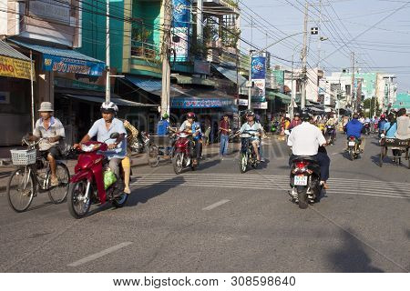 Chau Doc, Vietnam - July 23: Road Traffic On July 23, 2012 In Chau Doc, Vietnam. It Is A Town In The