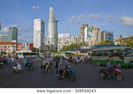 Saigon - July 25: Road Traffic On July 25, 2012 In Saigon Ho Chi Minh City , Vietnam. Ho Chi Minh Is