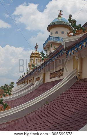 Roof Of Cao Dai Temple In Tay Ninh Near Ho Chi Minh City Saigon In Vietnam