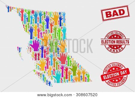 Election British Columbia Map And Seal Stamps. Red Rectangular Bad Textured Seal. Colored British Co
