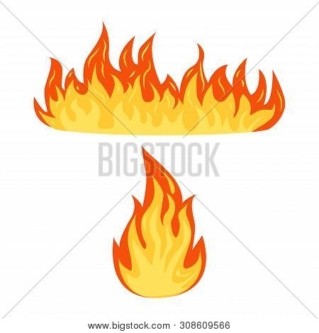 Set Of A Fire Flames Isolated On A White Background. Hot Cartoon Flame Energy, Flaming Symbols. Flat