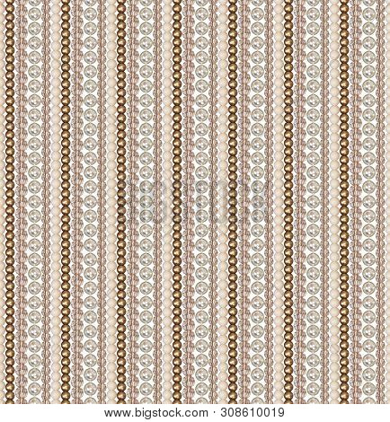 Seamless Pattern Of Different Beads. Pearl, Glass, Acrylic Beads. Beads Are Arranged Vertically Stra