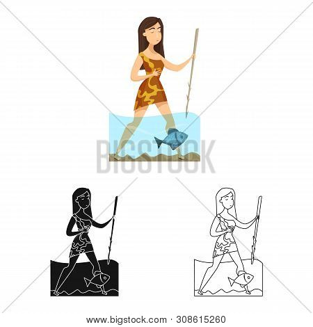 Vector Design Of Woman And Neanderthal Logo. Set Of Woman And Fish Stock Symbol For Web.