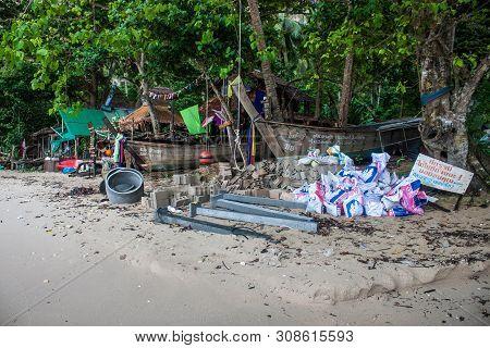Railay. Thailand - September 5: Bars On A Beach On September 5, 2013 In Railay, Thailand.railay Is A