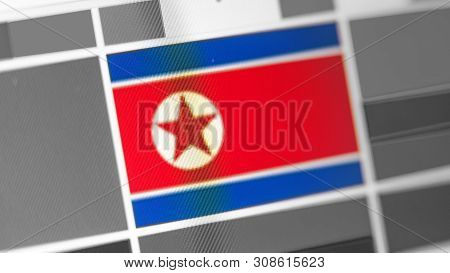North Korea National Flag Of Country. North Korea Flag On The Display, A Digital Moire Effect. News
