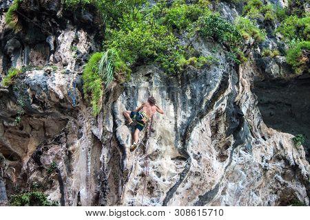 Railay. Thailand - September 4: Rock Climbing On Railay Beach On September 4, 2013 In Railay, Thaila