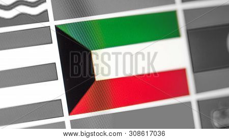Kuwait National Flag Of Country. Kuwait Flag On The Display, A Digital Moire Effect. News Of Geograp