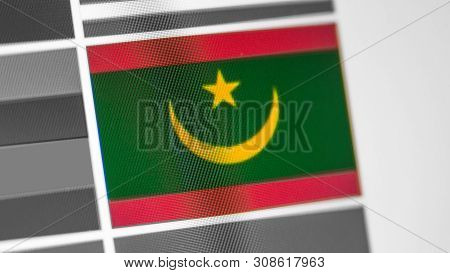 Mauritania National Flag Of Country. Mauritania Flag On The Display, A Digital Moire Effect. News Of