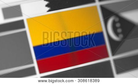 Colombia National Flag Of Country. Colombia Flag On The Display, A Digital Moire Effect. News Of Geo