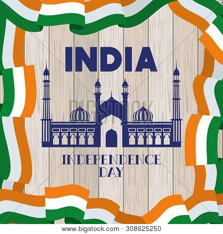 Indian Jama Masjid Temple With Flag In Wooden Background Vector Illustration