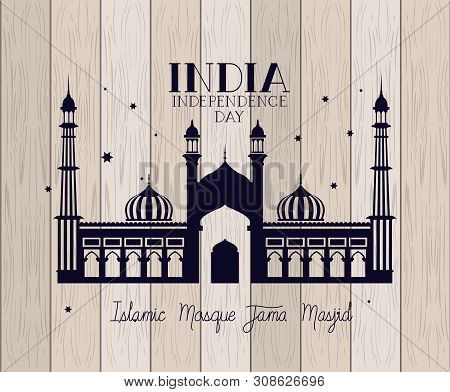Indian Jama Masjid Temple With Wooden Background Vector Illustration Design