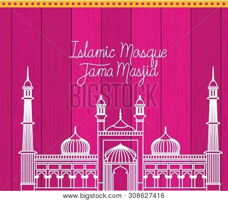 Indian Jama Masjid Temple With Purple Background Vector Illustration Design