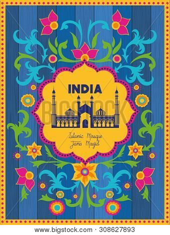 Indian Jama Masjid Temple With Floral Background Vector Illustration Design