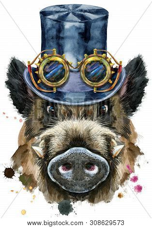 Watercolor portrait of wild boar with black hat topper and steampunk glasses poster