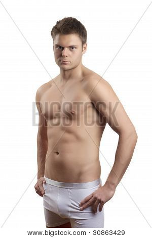 Muscular Handsome Man Isolated On White