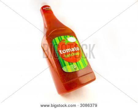 Large Bottle Of Tomato Ketchup On White Background