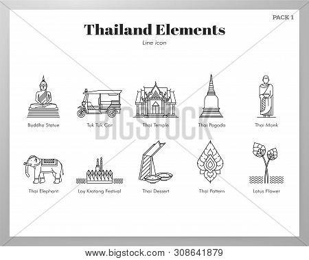 Thailand Vector Illustration In Line Stroke Design