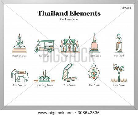 Thailand Vector Illustration In Line Color Design