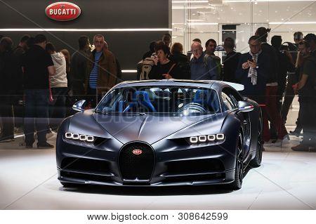 Geneva, Switzerland - March 11, 2019: Luxury Hypercar 110 Ans Bugatti Presented At The Annual Geneva