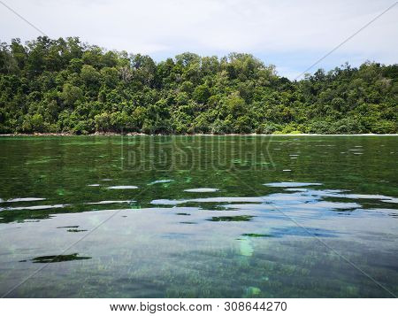 Beautiful Crystal Clear Water With Healthy Coral Reefs Undersea From Surface Of Gaya Island, Tunku A