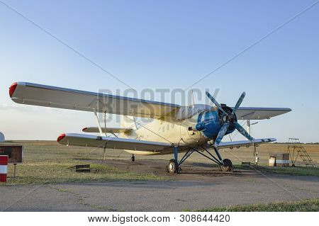 An-2, A Small Propeller Sports Aircraft At A Sports Airfield. Termination Aircraft For Pilot Trainin