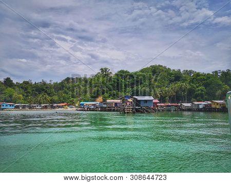 Borneo Sea Gypsy Water Village Or House On Stilts View In Gaya Island, Kota Kinabalu. Sabah, Malaysi