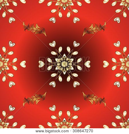 Vector Golden Floral Ornament Brocade Textile And Glass Pattern. Red And Orange Colors With Golden E