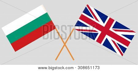 The UK and Bulgaria. British and Bulgarian flags. Official colors. Correct proportion. Vector illustration poster