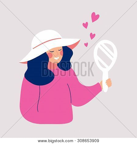 Hand Drawn Cartoon Young Woman In The Wide Brim Hat Looks At The Hand Mirror. Cute Smiling Female Ch