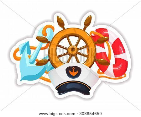 Stickers With Steering Wheel, Captains Hat, Life Preserver And Anchor.